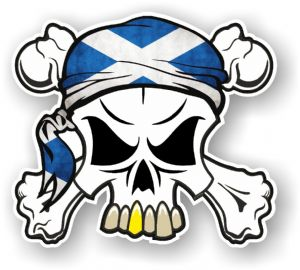 SKULL  & Crossbones  Head Bandanna With Scottish Flag External Vinyl Car Sticker 90x80mm
